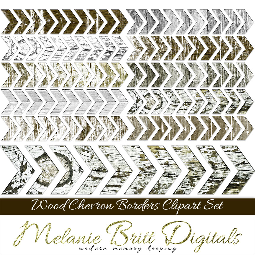 WOOD CHEVRON Clipart Border Clip Art Digital Scrapbooking Scrapbook Borders Chevron Wood Texture Printable