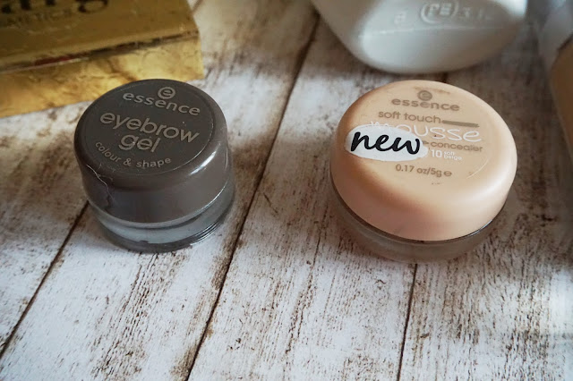 essence - eyebrow gel colour & shape in 01 brow, essence - soft touch mousse concealer in 10 soft beige