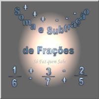 Ilustração mostrando o texto Soma e subtração de frações com frações e sinais distribuídos pelo espaço.