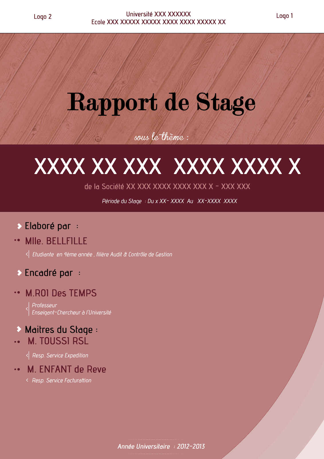 page de garde gratuite pour votre rapport de stage