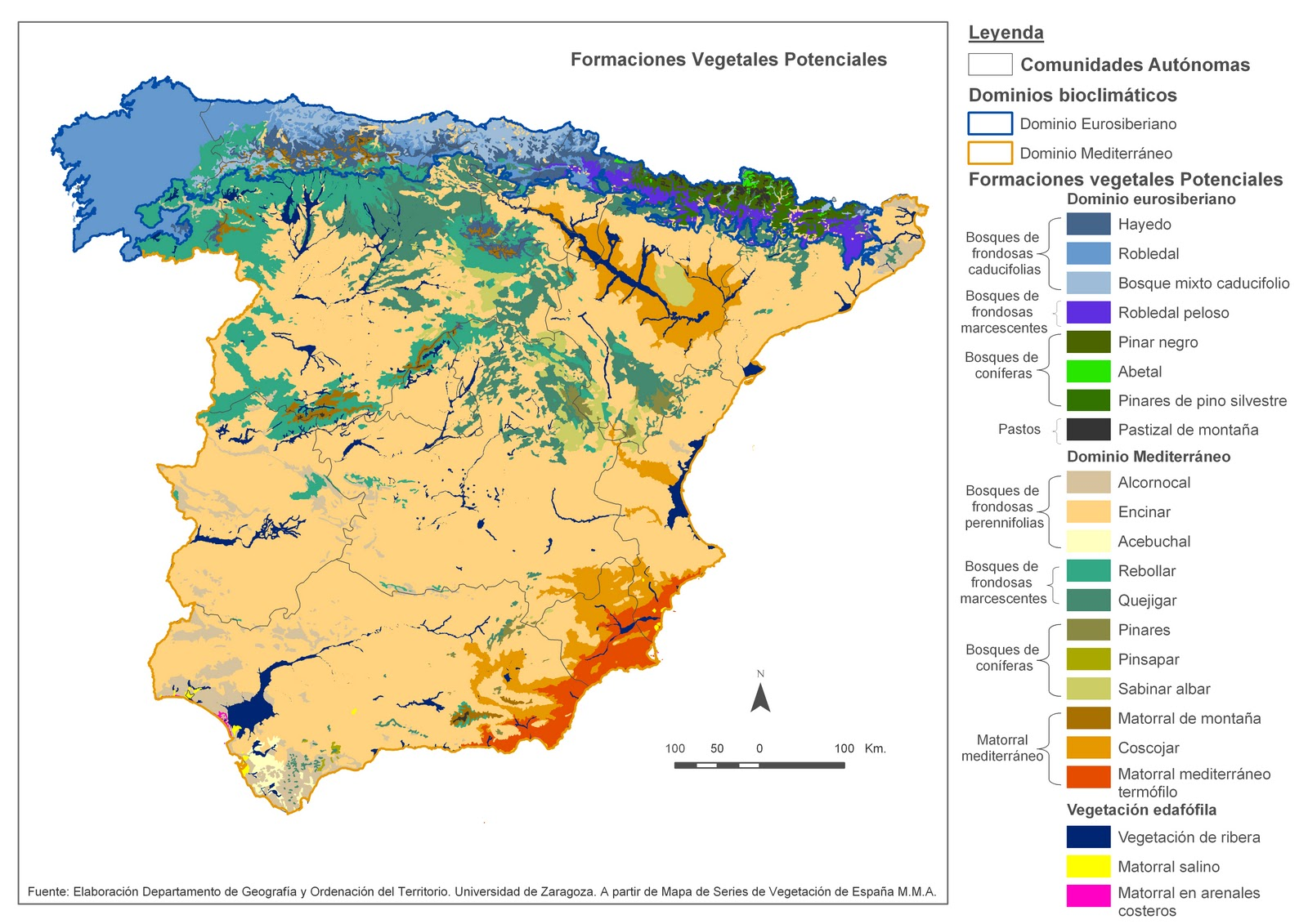 Mapa Climatico De España Mudo.Profesor De Historia Geografia Y Arte Vegetacion En Espana