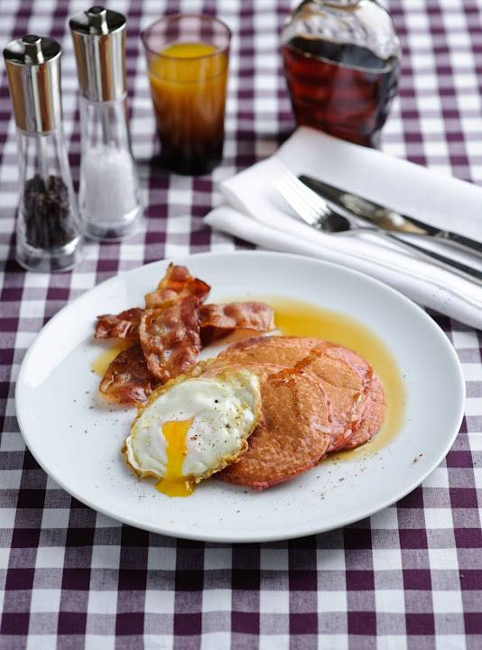 Beetroot Pancakes With Eggs, Smoked Bacon & Maple Syrup
