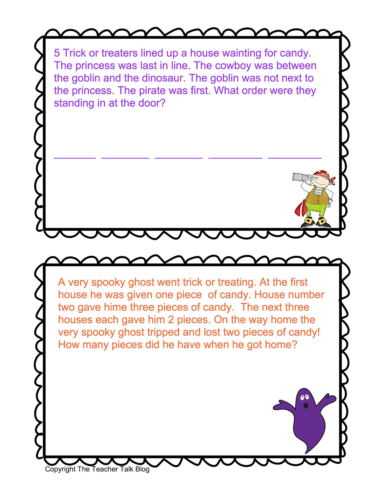 Teacher Talk Halloween Math Stories