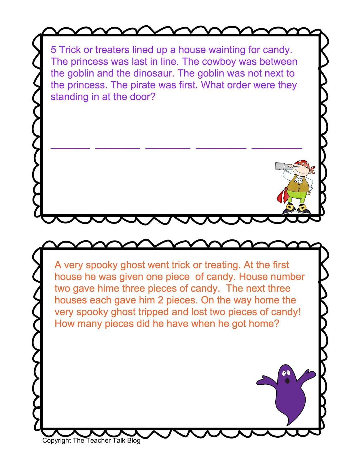 Teacher Talk Halloween Math Stories