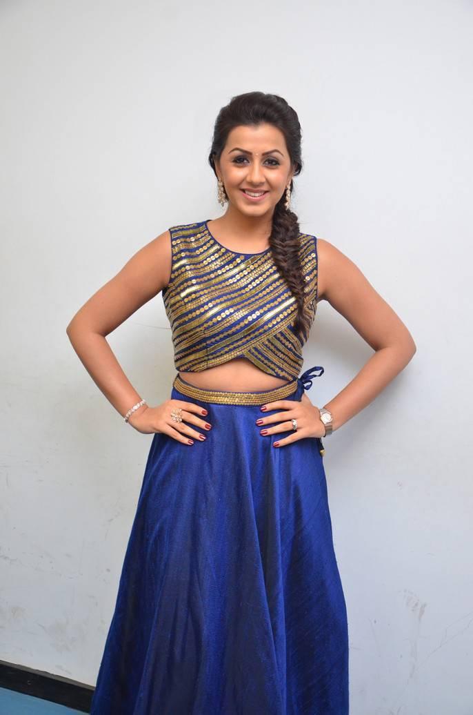 Beautiful Chennai Girl Nikki Galrani Hip Show Stills In Blue Dress