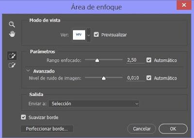Configurar parámetros área de enfoque