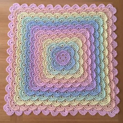 Shell Stitch Crochet Square - Free Diagram