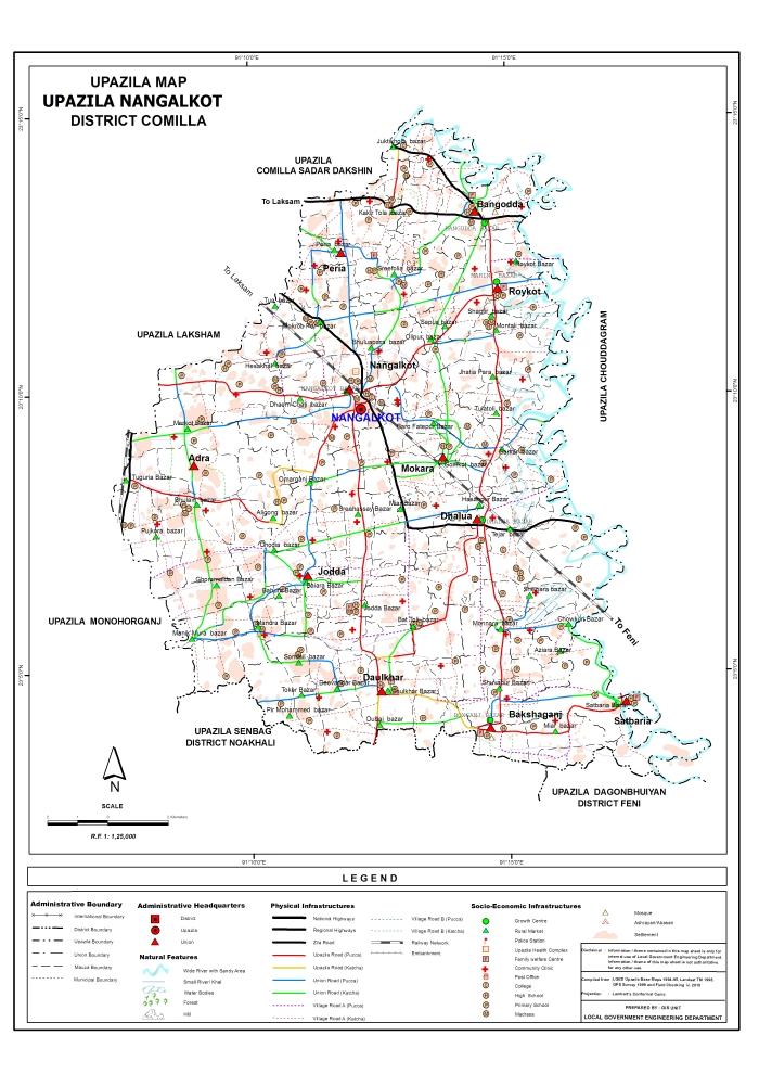Nangalkot Upazila Map Comilla District Bangladesh
