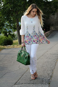 white floral tunic green leather bag blogger