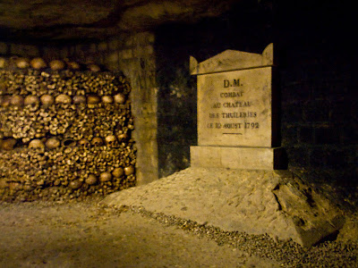 Photograph of the memorial in the Catacombs of Paris, where many victims of the massacre are buried