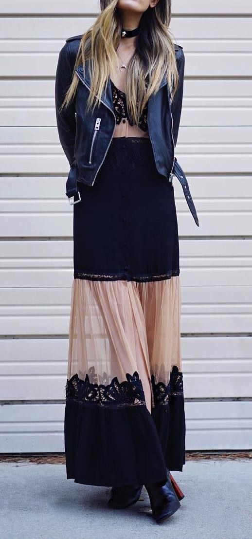 cute spring outfit idea: biker jacket + maxi dress
