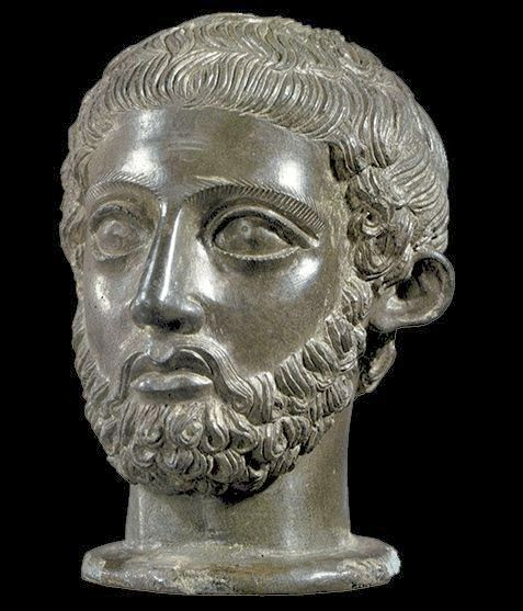 Etruscan bronze portrait bust at the Cortona exhibition