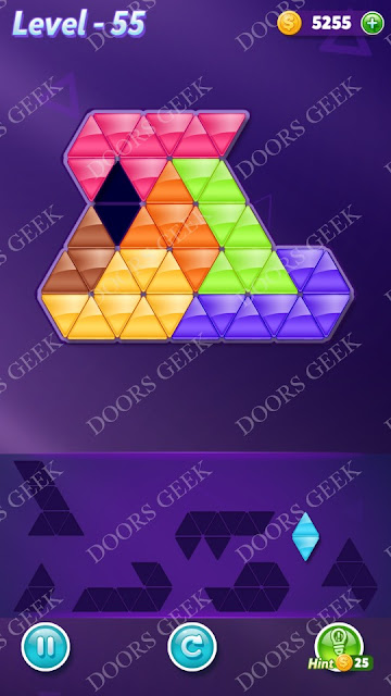 Block! Triangle Puzzle Advanced Level 55 Solution, Cheats, Walkthrough for Android, iPhone, iPad and iPod