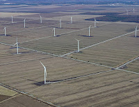 The Amazon Wind Farm U.S. East, the first utility-scale wind farm in the U.S. Southeast, began generating electricity in late 2016, supplying power to an electrical grid that serves Amazon's data centers. (Credit: Fisher Associates) Click to Enlarge.