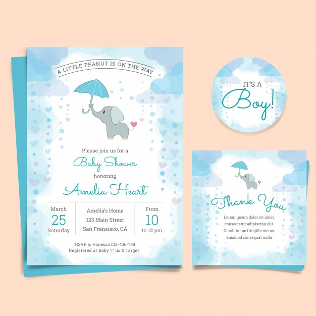 Baby shower invitation card with elephant Free Vector