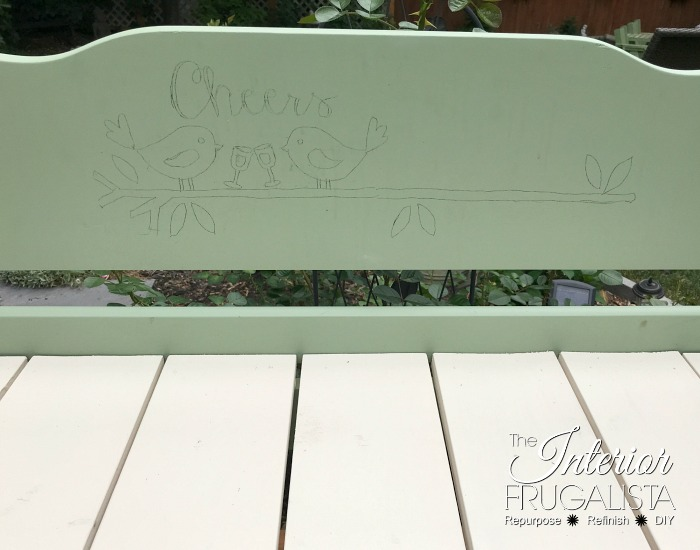 Headboard Garden Bench Transferred Graphic