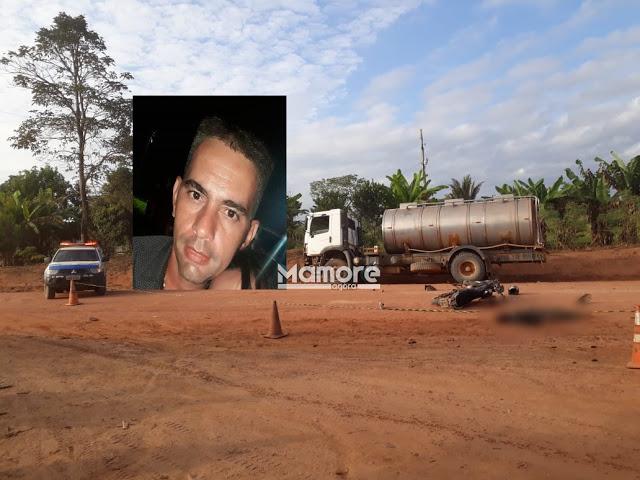 Colisão frontal entre motocicleta e caminhão de leite deixa uma vítima fatal