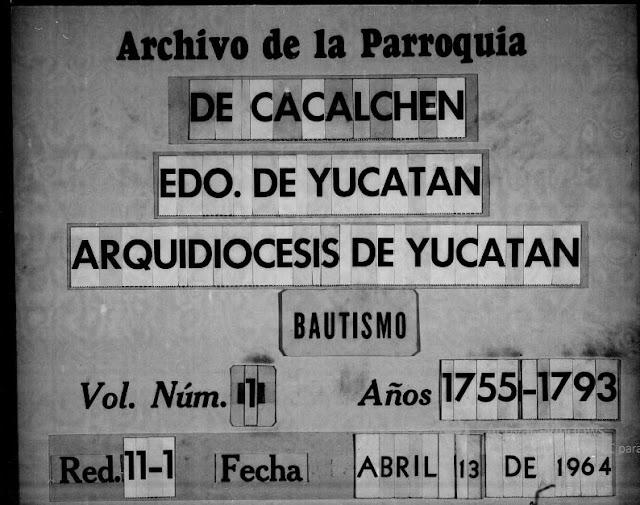 Libro de bautizos católicos en Cacalchén