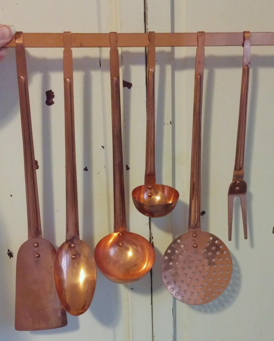 copper kitchen utensil set