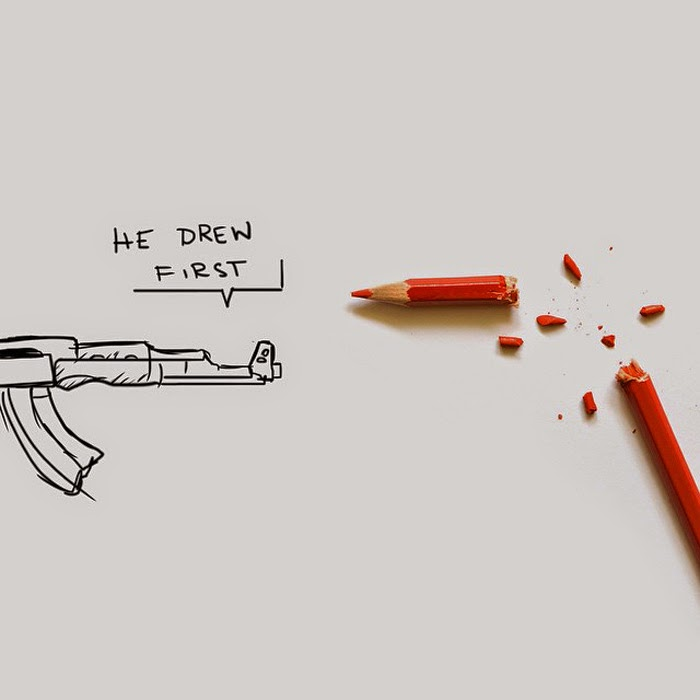 The Pen Is Mightier Than The Sword 28 Cartoonists Pay Tribute To The Victims Of The Charlie Hebdo Shooting - He drew first