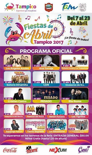 artistas fiestas de abril tampico 2017