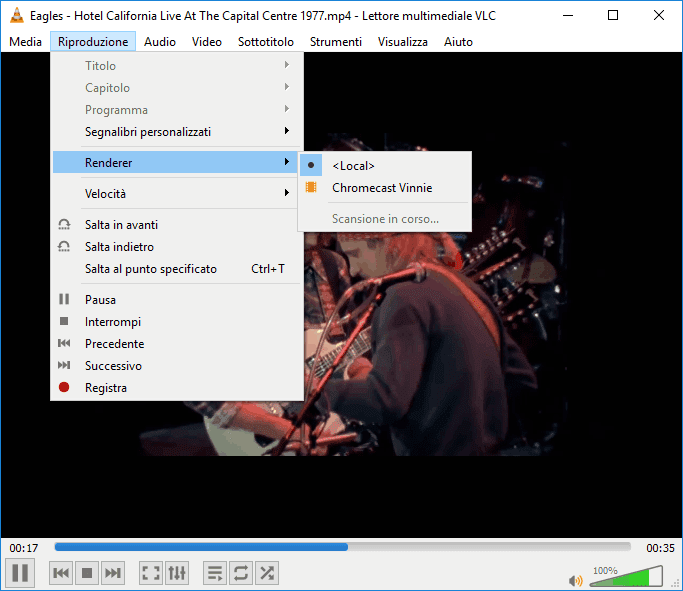 Trasmettere da VLC a Chromecast