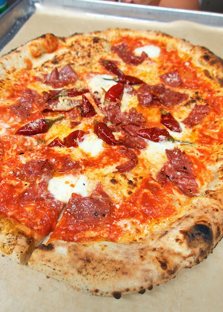 Diavola Pizza at Antico Pizza in Atlanta, GA topped with spicy sopressata, pepperonata, bufala