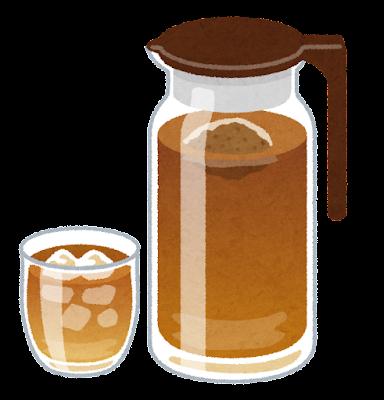 ポットに入った麦茶のイラスト