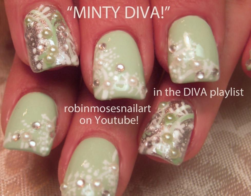 Nail Art by Robin Moses: Mint green nails, Princess Nails, Nail Art ...
