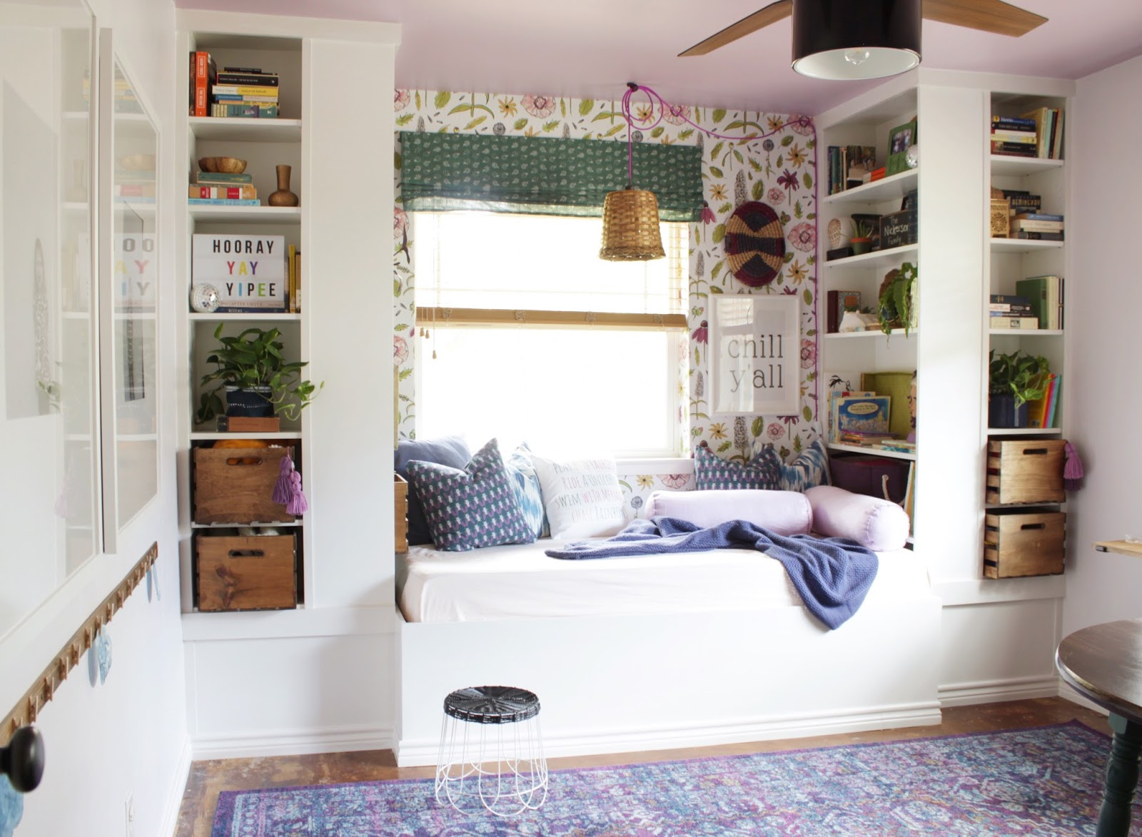 Playroom with builtins from IKEA billy bookcases