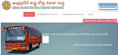 APSRTC Students Bus Pass Online Application