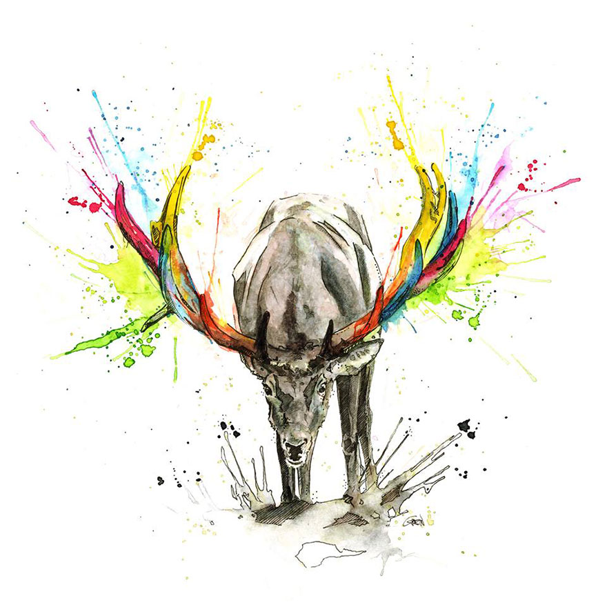 05-Stag-Philipp-Grein-Animal-Paintings-in-Splashes-of-Color-www-designstack-co
