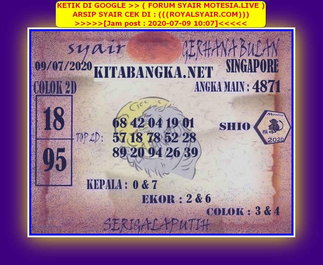 Kode syair Singapore Kamis 9 Juli 2020 113