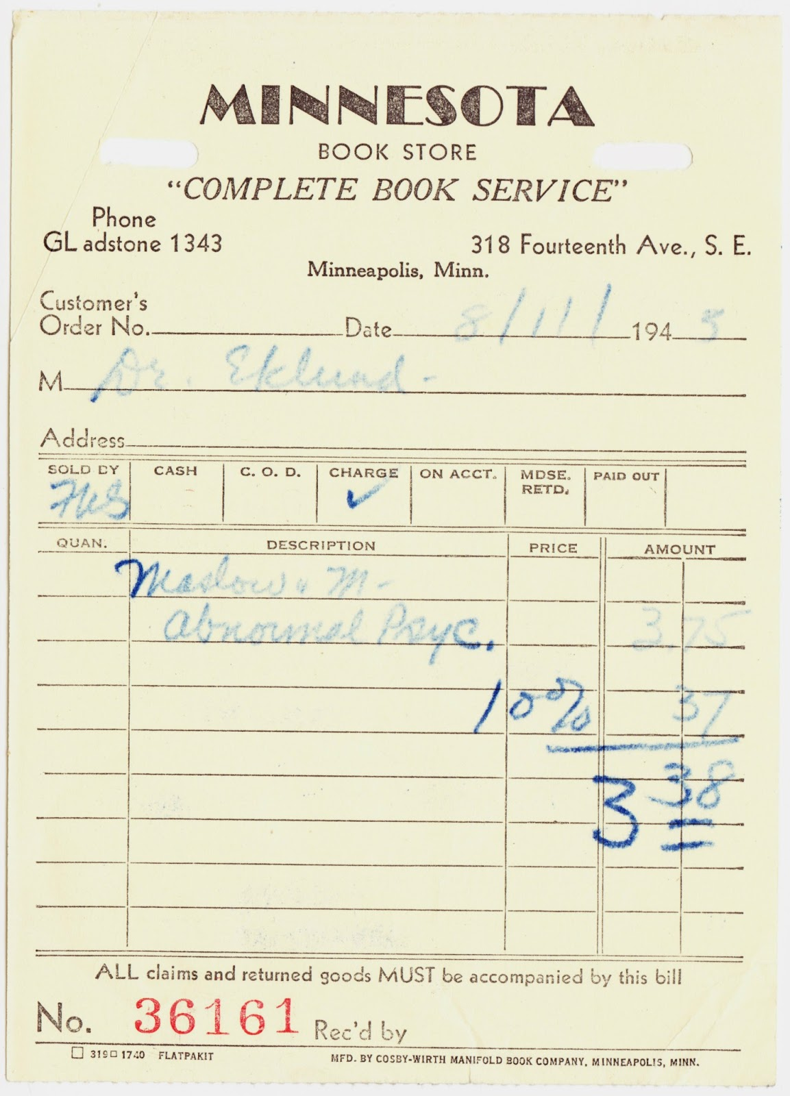 papergreat 1945 receipt for abnormal psychology textbook from