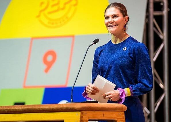 Crown Princess Victoria wore Baum und Pferdgarten blue Charissa sweater and Rodebjer Simone pants at Pep Forum
