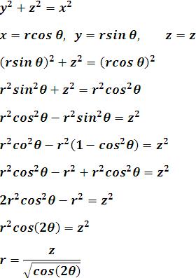 Proceso de cambiar la ecuación de superficie de un cono de rectangular a cilíndrica