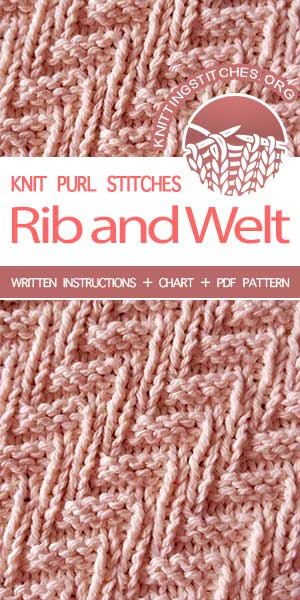 Knitting Stitches -- Rib and Welt stitch pattern. Instructions provided in charted and written form.