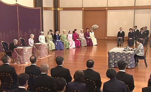 Emperor Akihito, Empress Michiko, Crown Prince Naruhito, Crown Princess Masako, Prince Akishino, Princess Kiko and Princess Mako