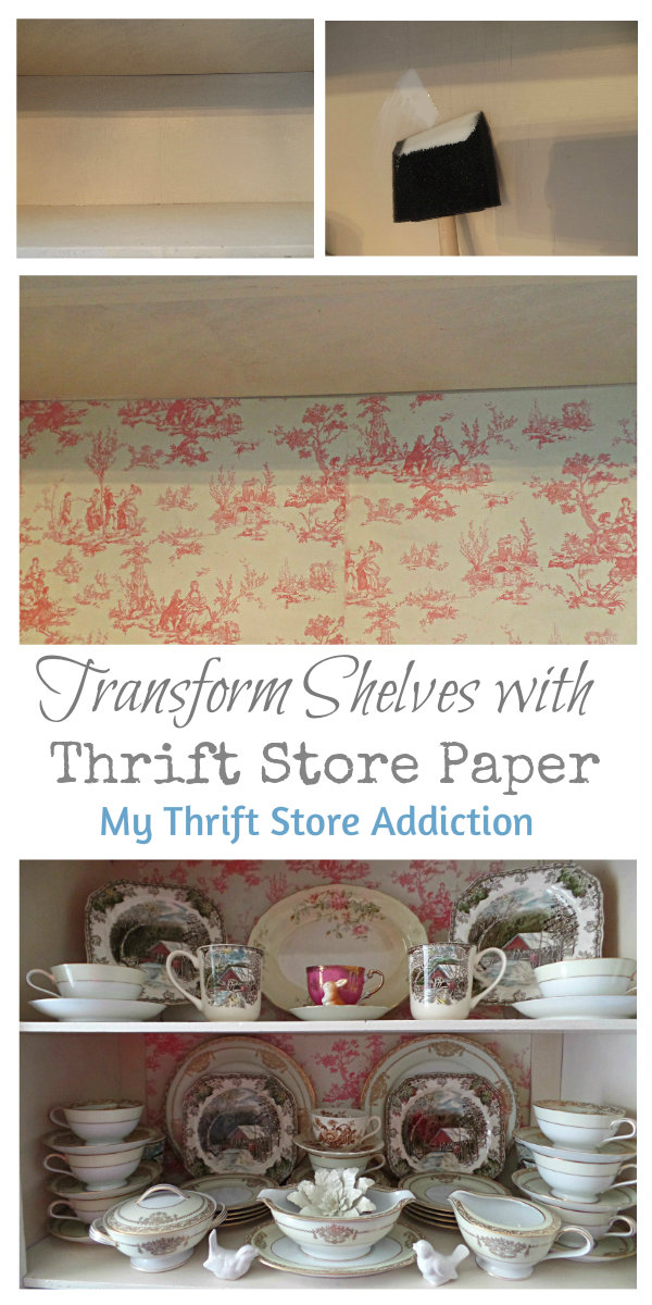 How to Transform Shelves with Thrift Store Paper mythriftstoreaddiction.blogspot.com China cabinet makeover using thrift store draw liners and mod podge!