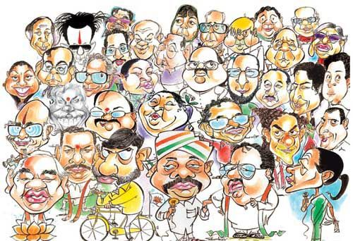 Cartoon image of politicians from all parties