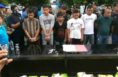 Baku Tembak, Enam Warga Aceh Utara dan Bireun Bawa Sabu 35 Kg di Ciduk BNN
