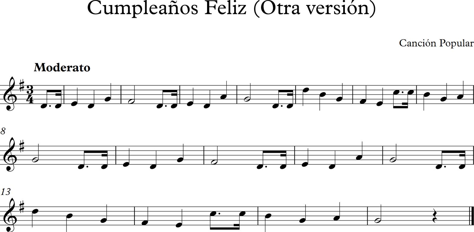 Cumpleanos feliz en partitura para flauta