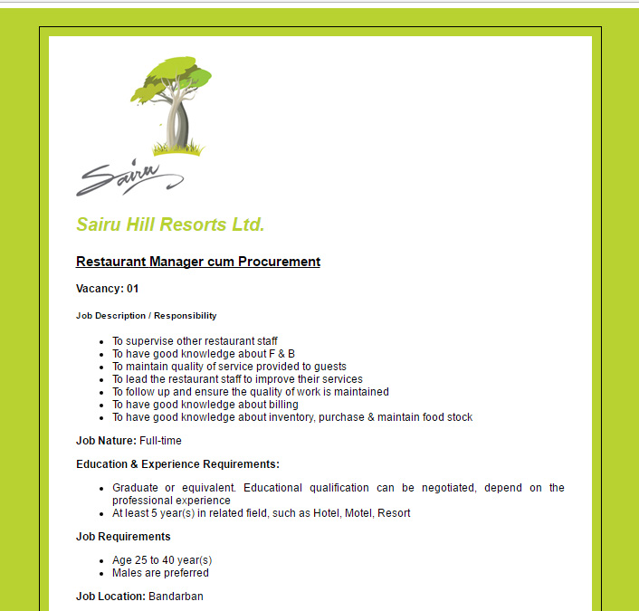 Sairu Hill Resorts Ltd Restaurant Manager cum Procurement