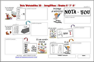 Jeroglífico, Jeroglíficos, Retos para pensar, Retos Matemáticos, Problemas matemáticos, Desafíos matemáticos, Jeroglíficos con Solución, Jeroglíficos para niños