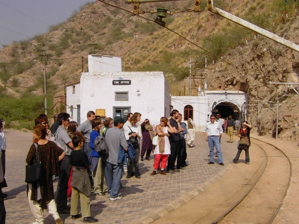 Tourists waiting for the Mini train at the entrance of Khewra Salt Mines, Pakistan