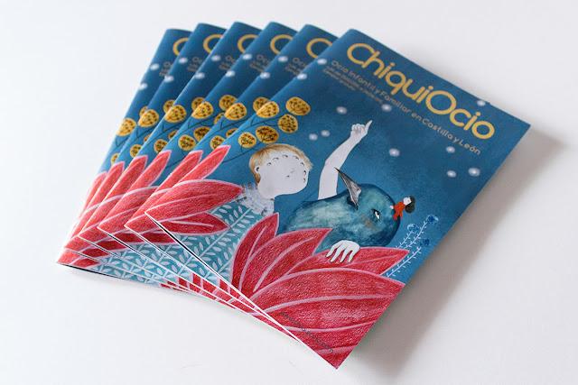 Chiquiocio, revista de ocio infantil, ilustracion de portada, ilustración de pájaros, nene con muchos ojos, mirada, ilustracion de plantas, ilustracion botanica
