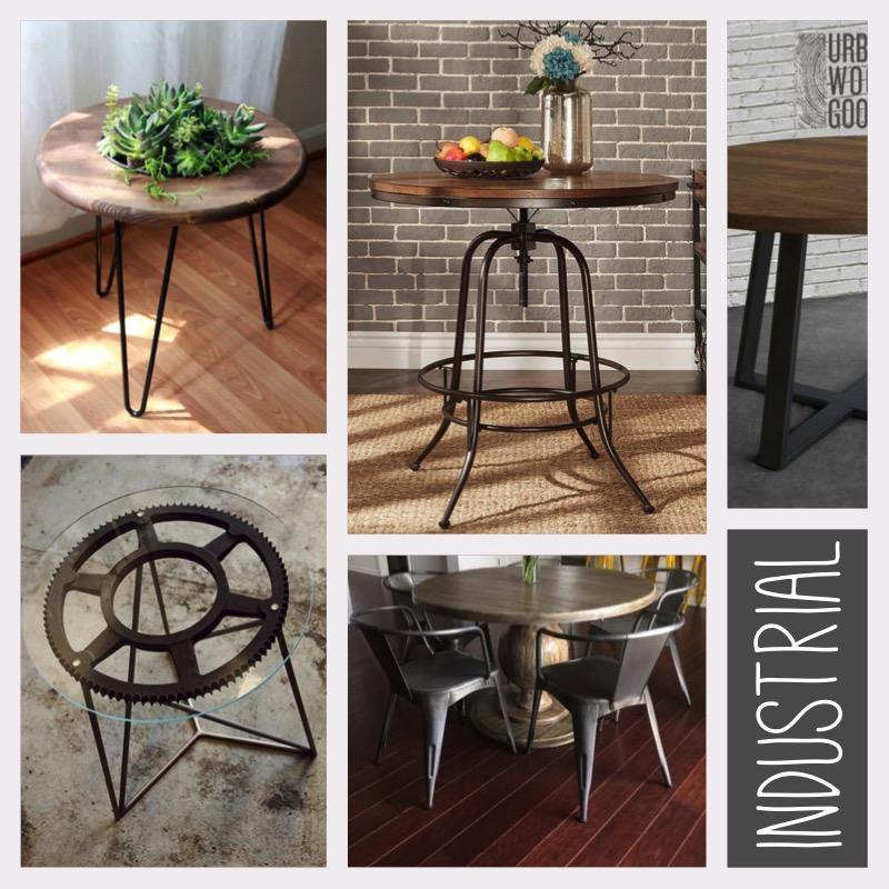 Okrągły stół styl industrialny