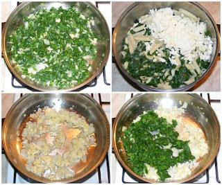 spana calit cu ceapa si usturoi amestecat cu branza si paste la tigaie preparare, retete cu spanac ceapa usturoi si paste, retete culinare, cum se face budinca de paste, cum se fac paste cu branza si spanac la cuptor,