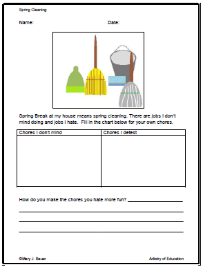Artistry of education printable spring cleaning writing prompt i took what was just the graphic and the writing prompt and turned it into a printable organizer for a short informational assignment ccuart Image collections