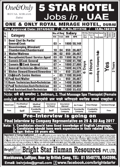 Jobs in UAE for Nepali, Salary Rs 50,148